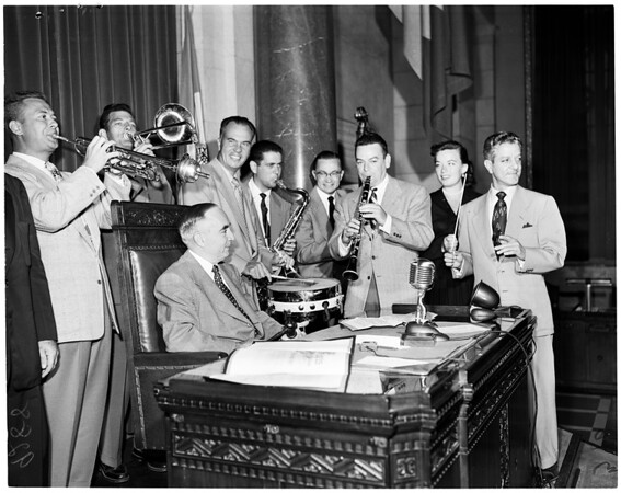 International Salute to Hollywood Bowl preview before city council, 1951