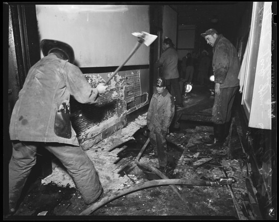 Fire at girl's gym at Inglewood High School, 1954