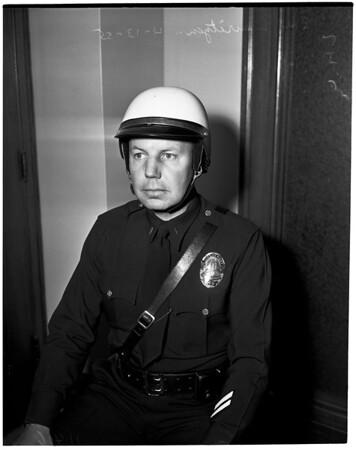 New crash helmet (for Police Department), 1955