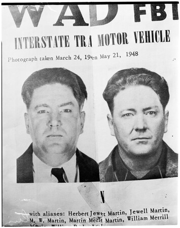 Wanted by the Federal Bureau of Investigation, 1952