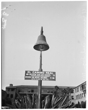 El Camino Real sign and bell, 1951