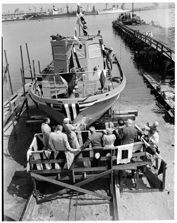 Fire boat launching, 1954