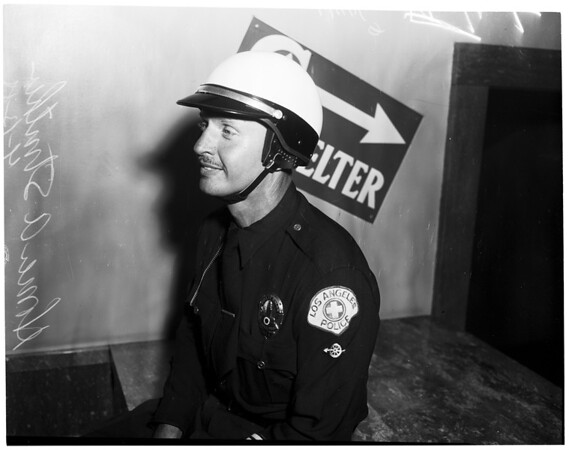 New crash helmet (for Police Department), 1955