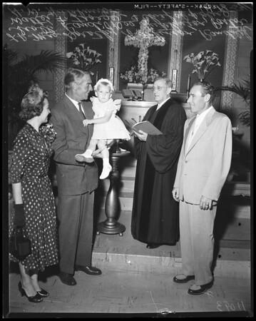 Christening of Hutchinson baby, 1954