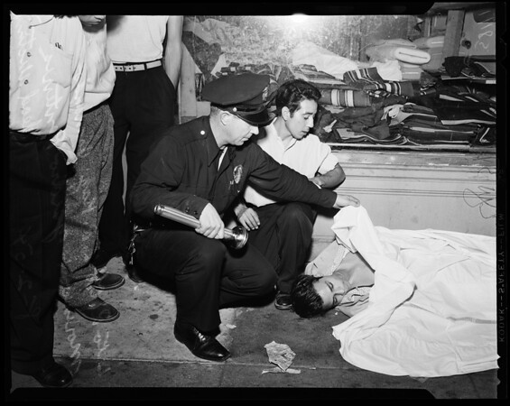 Gang shooting (1st and State Streets), 1954