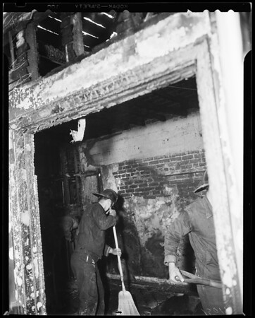 Fire at apartment -- 4215 Montclair Street, 1954