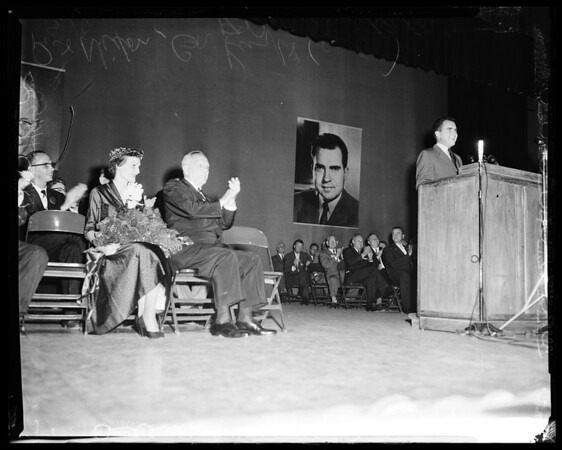 Nixon speaking at high school in Whittier, 1956