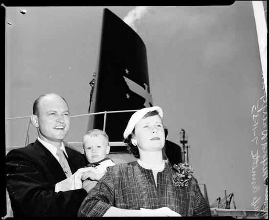Reverend Brelje on way to Japan, 1955
