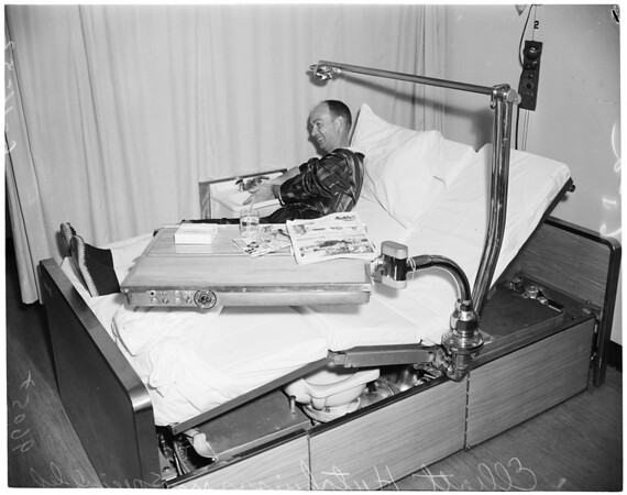 Automatic hospital bed (White Memorial Hospital), 1952