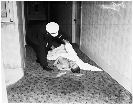 Fire and dead body at hotel at Washington and Main, 1951