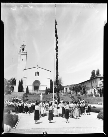 Mount St. Mary's College skirt raising ceremony, 1954