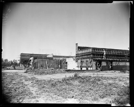 Northridge Junior High School under construction, 1954