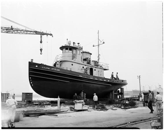 Last tug launching, 1954