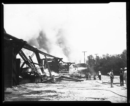 Bridge fire, San Gabriel & Rio Hondo River, 1952