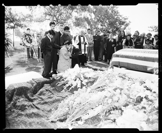 Korean veteran funeral ... Calvery Cemetery (Private First Class Mike Garza -- 24 years), 1952