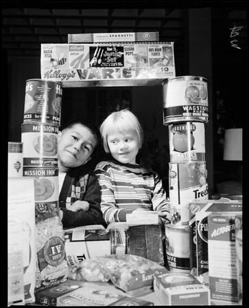 Los Angeles Orphans Home food shower, 1957