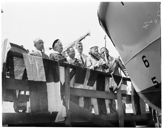 Fire boat launching, 1954