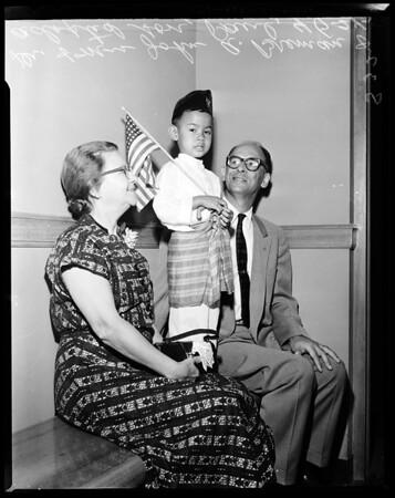 Missionaries adopt little boy, 1957