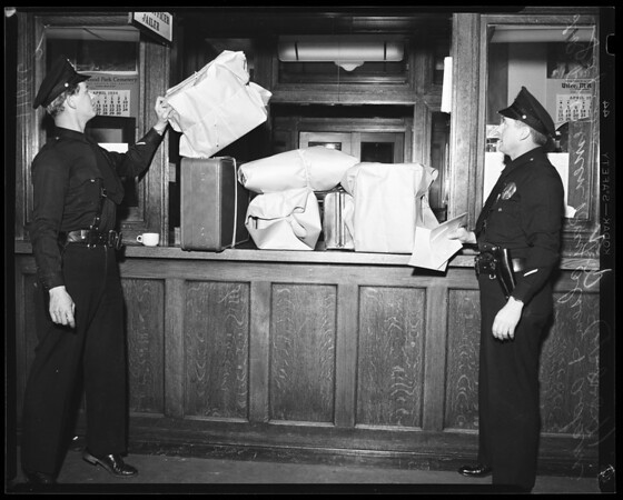 Burglary suspects at Hollywood Police Station, 1954