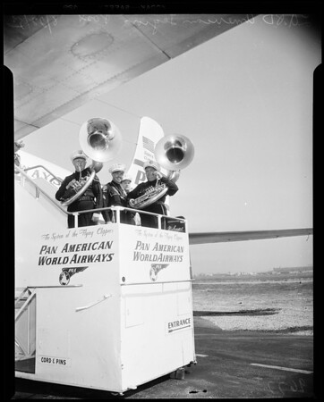 Fifty members of Los Angeles Police Department's American Legion Post 3381 Band took off for American Legion National Convention in New York City, 1952