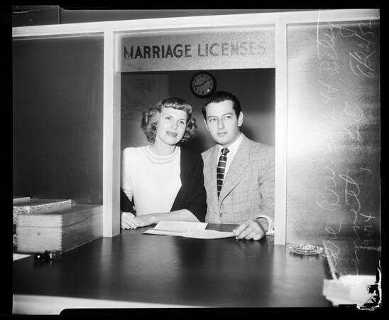 Andre Previn wedding license, Santa Monica, 1952
