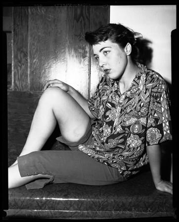 Girl says Sonny Tufts bit her, asks $26,000.00 damages, 1954