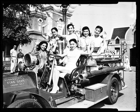 Oriental girls at Disneyland, 1958
