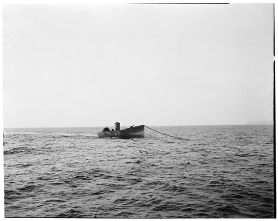 Old tanker in harbor, 1951