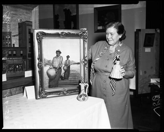Art exhibit at Queen of Angels Hospital, 1959