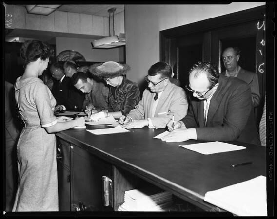 Candidates file at City Hall for city council elections, 1959