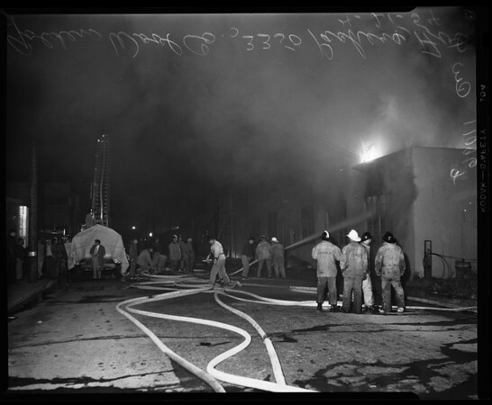 Fire near Los Angeles stock yards, 1954