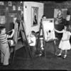 Children painters at Matisse art exhibit, 1952