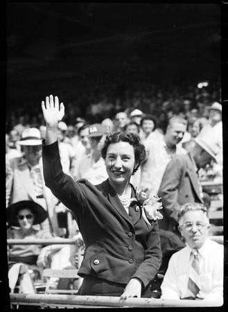 Florence Chadwick at Wrigley Field, 1952