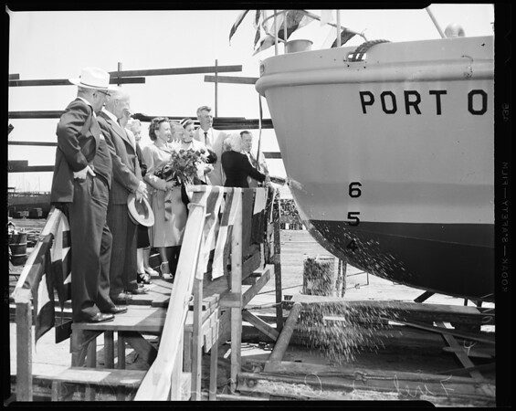 Long Beach fire boat launching, 1954