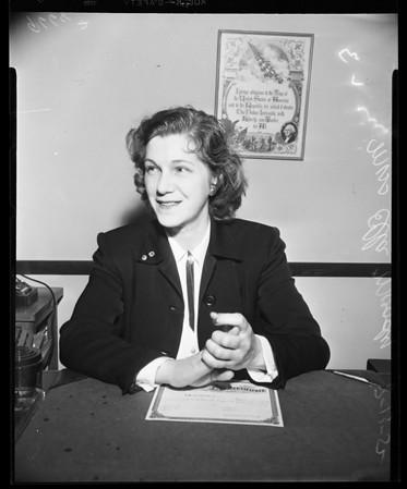 New marriage license clerk, 1952