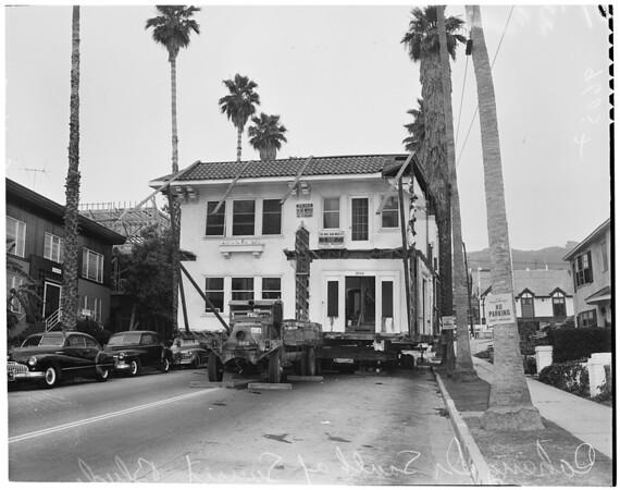 House blocks street (Doheny Drive south of Sunset Boulevard), 1952