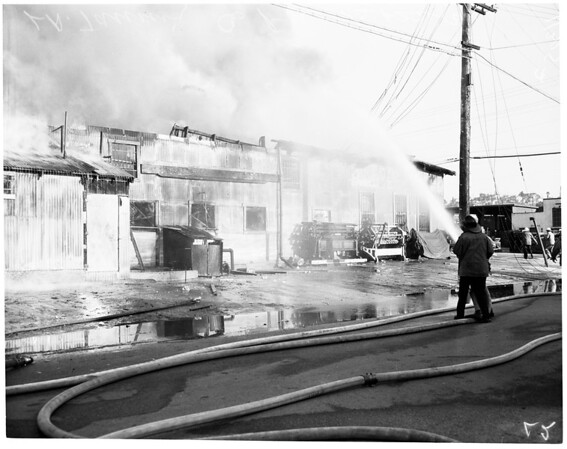 Fire at Los Angeles Tanning Company (4101 Whiteside Street), 1954