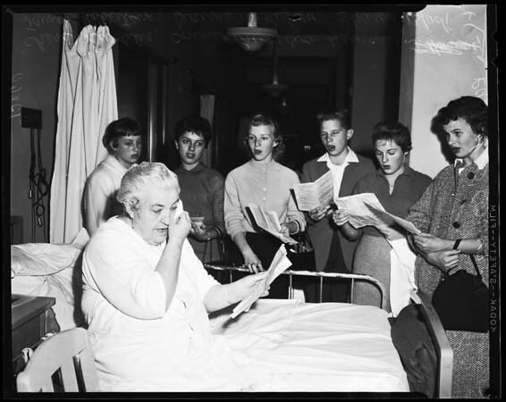 Los Angeles Hospital singers on Thanksgiving, 1958