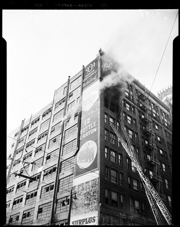 Fire at 9th Street and Broadway, 1952