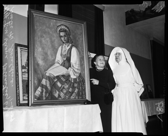 Art exhibit at Queen of Angels Hospital, 1959