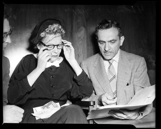 Murder prelininary trial, 1954