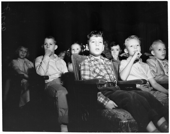 """Hansel and Gretel"" Opera (at Shrine auditorium) -- children watching opera, 1953"