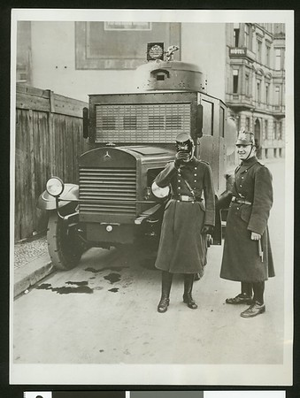 Water wagon squelches Berlin rioters, 1930