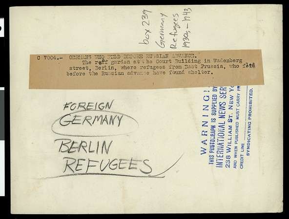 Germans who fled before Russian advance, [s.d.]