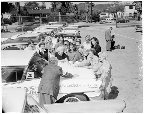 Mobilgas run -- girl drivers, 1957