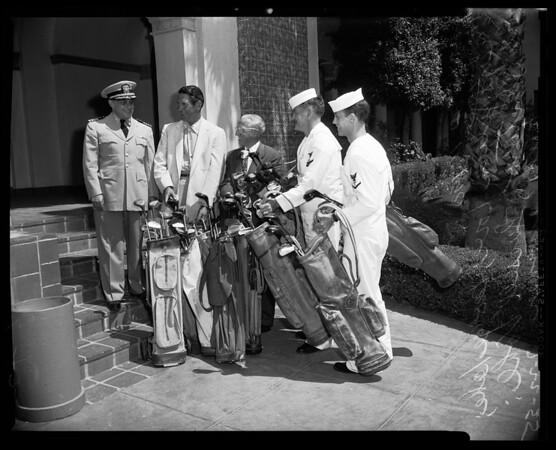 Presentation of golf clubs to Corona Naval Hospital, 1955