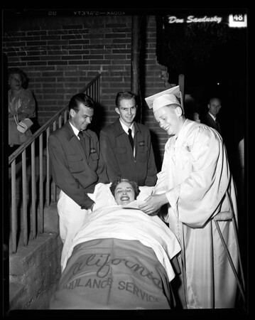 Mother taken in ambulance to high school graduation of son, 1954