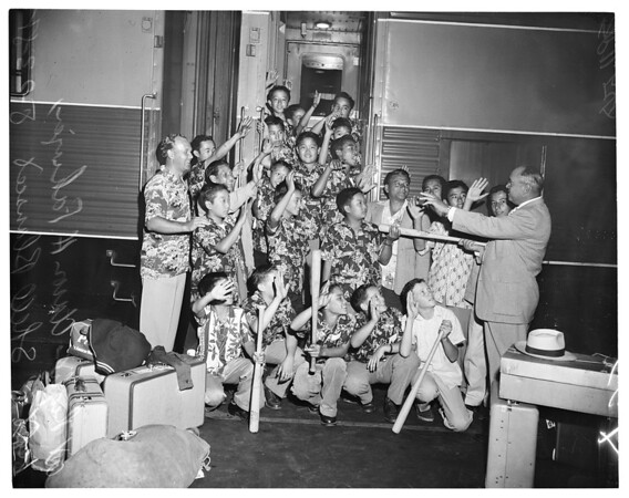 19 members of Hilo, Hawaii Boy's Club arrive at Union Station, 1955