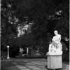 Unidentified statues at San Simeon, 1958