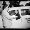Cab driver awarded for safe driving, 1954